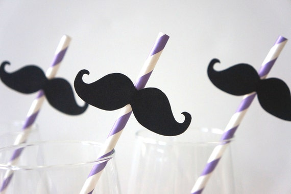 Set of 10 PURPLE Striped Mustache Straw Photo Props - Mustaches on PURPLE Striped Paper Straws