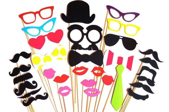 SALE - Awesome Photo Booth Props - 32 piece photo prop set - Birthdays, Weddings, Parties - Photobooth Props