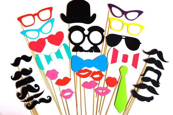 FUN 32 piece Photo Booth Prop Set - Birthdays, Weddings, Parties - Great Photobooth Props