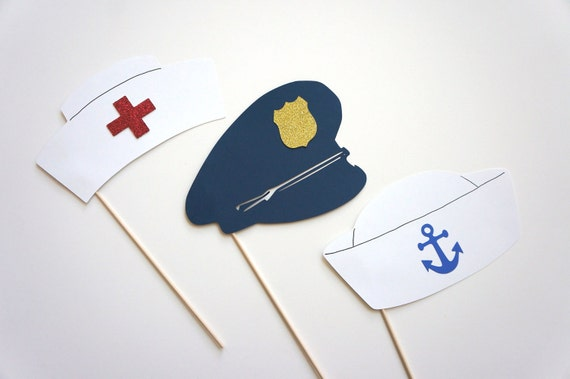 Photo Booth Props - Set of 3 Hats on a stick - Nurse, Sailor, Police hats with GLITTER - Photobooth Props