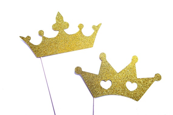 Photo Booth Props - Prom King and Queen Crowns with GLITTER - Photobooth Props