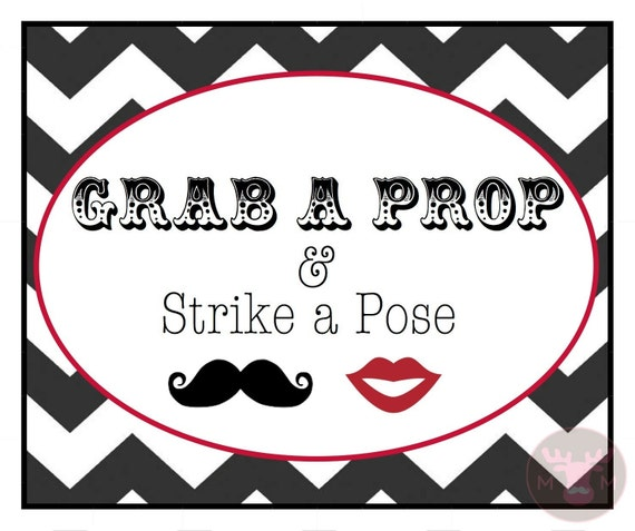 Photo Booth Props - Photo Booth Sign  - Grab a Prop - Black and White - Photobooth Props - Black and White Photo Booth Sign Series