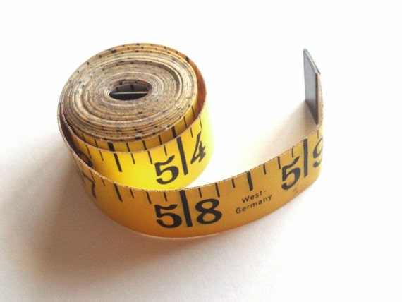 60in Measuring Tape, Vintage West German Sewing Supplies, Sixty Inch Yellow and White