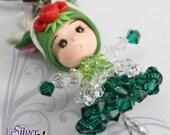 Clearance Sale - Head phone Charm Hand made Swarovski Crystal Clay Head phone Charm - Green Dragon