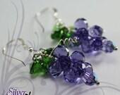 Swarovski Grape earring made with Tanzanite Crystal Cute