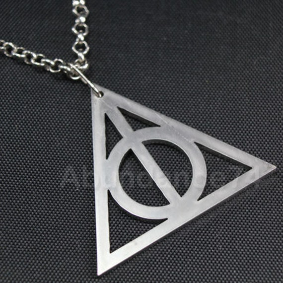 Harry Potter DEATHLY HALLOWS Stainless Steel Laser Cut Pendant Large Size 45mm with Rhodium Necklace