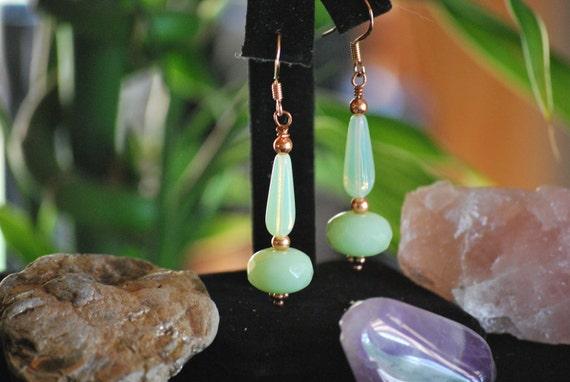 Cool Mint earrings, czech glass earrings, copper earrings, green earrings