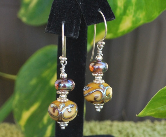 Royal Pair - Warm caramel colored artisan crafted beads with silver scrolls