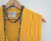 Mustard Yellow Long Vintage Sweater Vest - Cable Knit - Wool - Size Medium