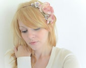 Pink Pastel Flowers Halo Woodland Bridal Crown Whimsical Vintage Roses and Violets