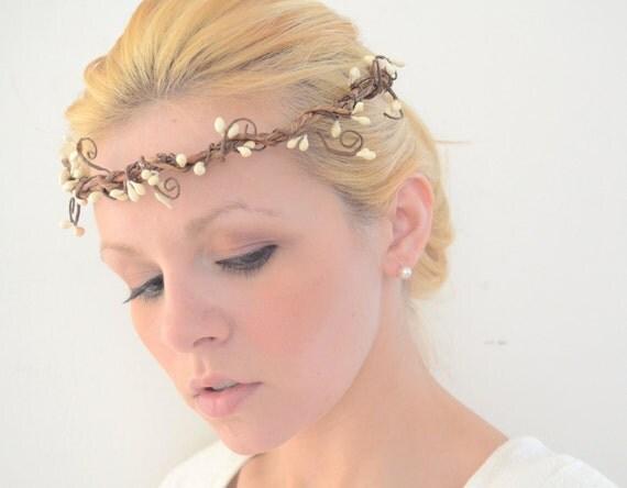 Woodland Halo Crown White Berry Wreath Wired Vine Headband Natural Bridal Head Piece