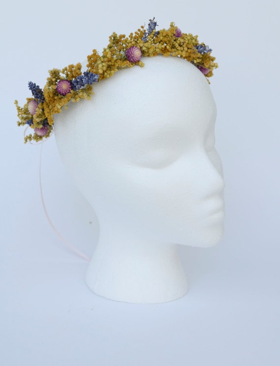SALE- Wild Flower Natural Dried Halo Floral Crown Hair Wreath Yellow Golden Rod Purple Pink