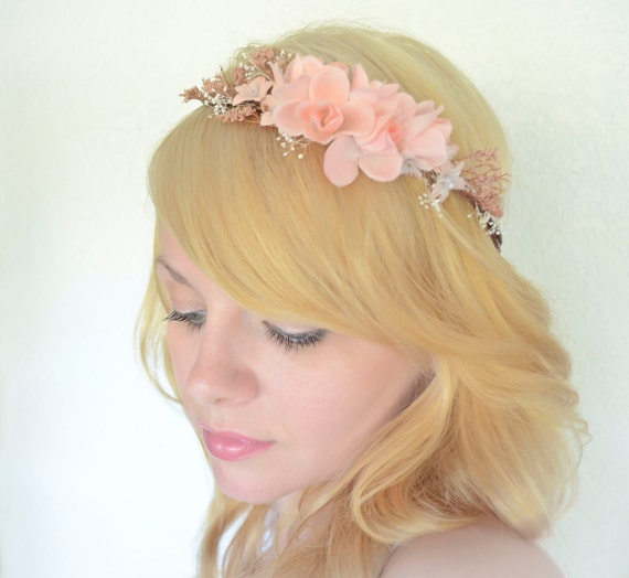 Blush Peach Woodland Halo Crown Vintage Roses and Dried Natural Flowers