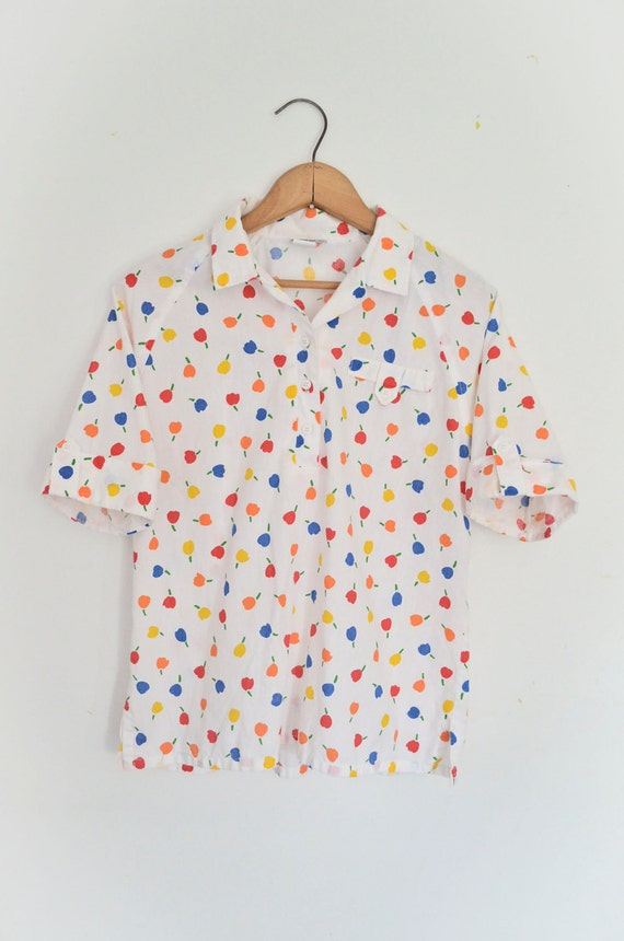 Apple Print Blouse Cotton Shirt White with Multicolor Print - Cute Summer Top Size Small