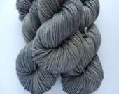 Hand Dyed Yarn - Superwash Merino Wool Worsted Weight in Gray Matter Colorway