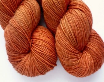 BFL Sock Yarn - Hand Dyed 75/25 BFL/Nylon Fingering Weight Yarn in Copper Penny Colorway