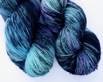 Merino Sock Yarn - Hand Dyed Superwash Merino Fingering Weight Yarn in Aurora Borealis Colorway