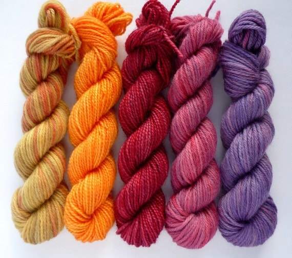 Hand Dyed Sock Yarn Mini Skeins - Merino / Cashmere and BFL / Nylon Fingering Weight Set of 5