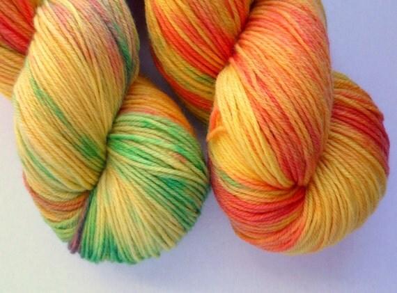 Hand Dyed MCN Sock Yarn - Merino / Cashmere / Nylon Fingering Weight in Mango Colorway