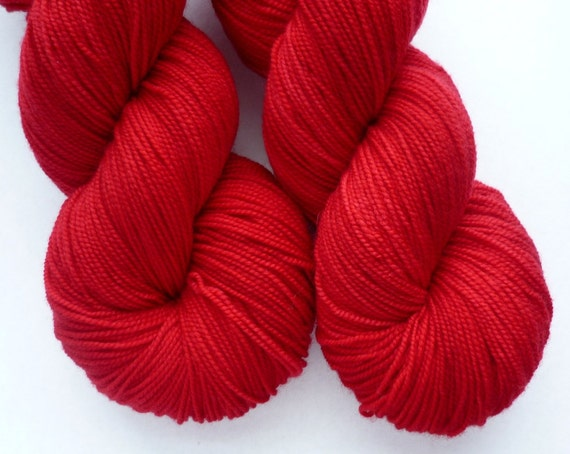 Merino Sock Yarn - Hand Dyed Superwash Merino Fingering Weight Yarn in Amaryllis Red Colorway