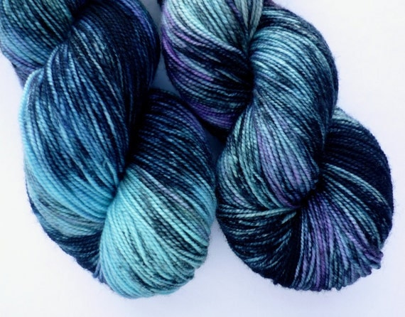Merino Sock Yarn - Hand Dyed Superwash Merino Fingering Weight Yarn in Aurora Borealis Colorway