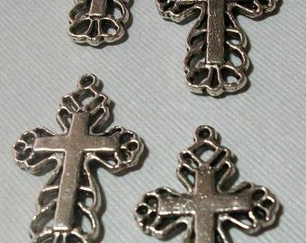 4 Piece Silver Metal Crosses