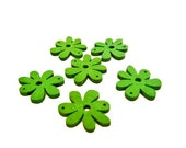 6 Large, Wooden Flower Charm / Beads -  Green
