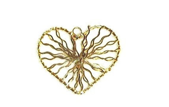 2 Large Gold Plated Hearts - Wire wrapped