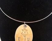 Ceramic Jewelry - Monogrammed Sandcastle Pendant Necklace