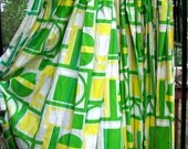 Mid century DRAPES  ..  Sunshine Yellow and green PICTURE WINDOW  curtains