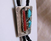 Turquoise and coral Bolo Tie slide Native American Indian Navajo style