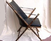 1860s English CAMPAIGN CHAIR no. 2 Chinoiserie  oak leather brass faux bamboo Hollywood Regency lines Italian