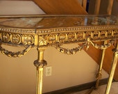 RESERVED for Scott Warren  ...............  Antique gilt table Italian hand carved tall console gold leaf works with Hollywood Regency