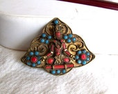 Vintage brooch turquoise coral Shiva god India meditating brass Persian or Moroccan style 1960s 1970s