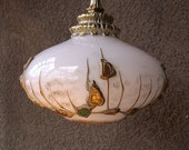 Mid century lamp light fixture modernist pendant swag jeweled stain glass decor Moroccan Russian shape