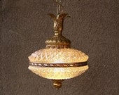 Hollywood Regency lamp cracked ice swag light fixture gilt and crystal with prisms mid century