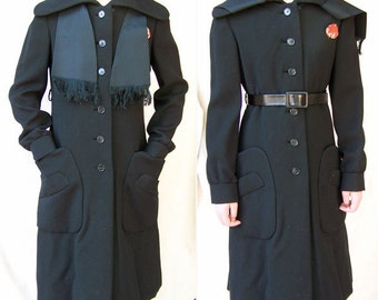 Geoffrey Beene coat dress runway iconic 1960s couture black wool vintage