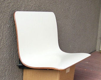 Danish Modern chair bench booth seat wall mounted Plymold like PLYCRAFT Mid-century  modernist floating vintage sculptural molded plywood