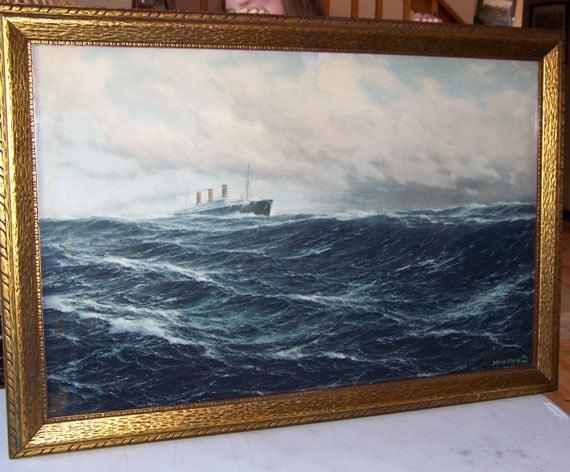 Schnars-Alquist lithograph, steamship Imperator, CUNARD