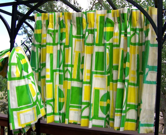 Mid century drapes curtains mod yellow and green  curtains