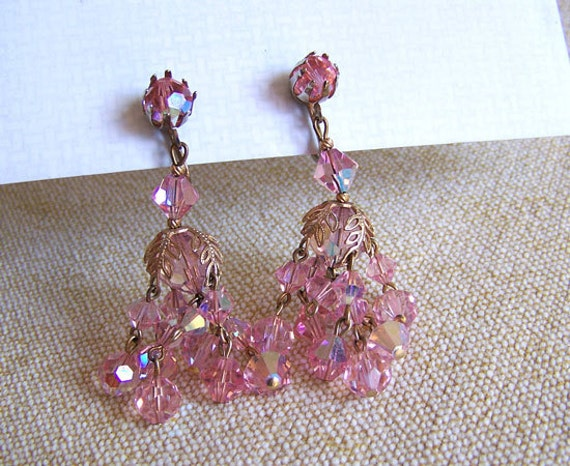 Aurora borealis earrings chandelier pink glass crystal clip-ons over 2 inches high