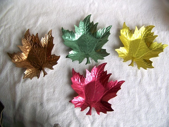 Anodized aluminum ashtrays mid century colorful green gold red bronze shaped oak or maple leaf