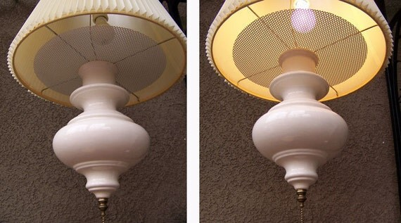 Danish Modern lamp swag oyster white porcelain pottery 1950s diffuser hanging mid century light fixture