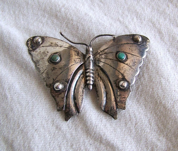 Huge Mexican brooch butterfly silver turquoise or calcite 4 1/4 inches wide vintage Mexico