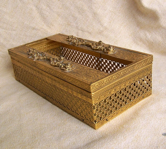 Hollywood Regency tissue box holder gold plated with two rows of roses