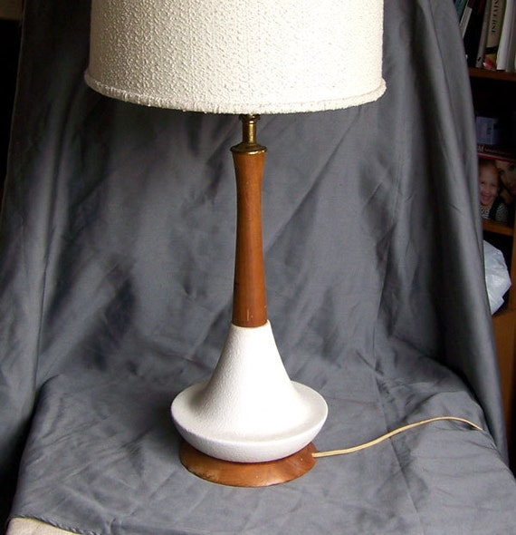 Mid century teak lamp with pottery base 1950s Danish Modern style