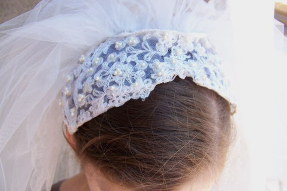 Retro bridal veil NOS ballet or waltz length with blusher pearl cap embroidered edge no. 2