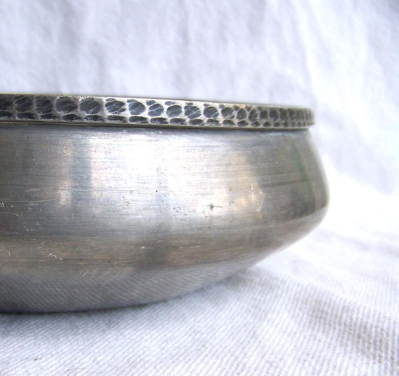 Danish Modern bowl BM Norway pewter with hammered edge vintage elegance