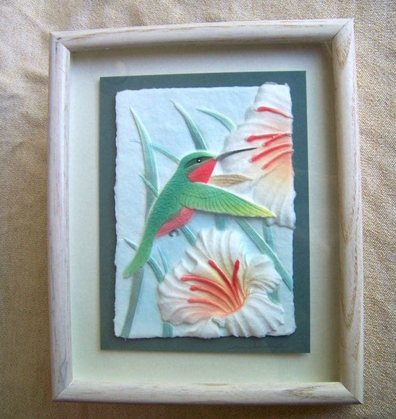 RESERVED for Sharon Latimer   ................    Figi Graphics hummingbird wall art molded paper