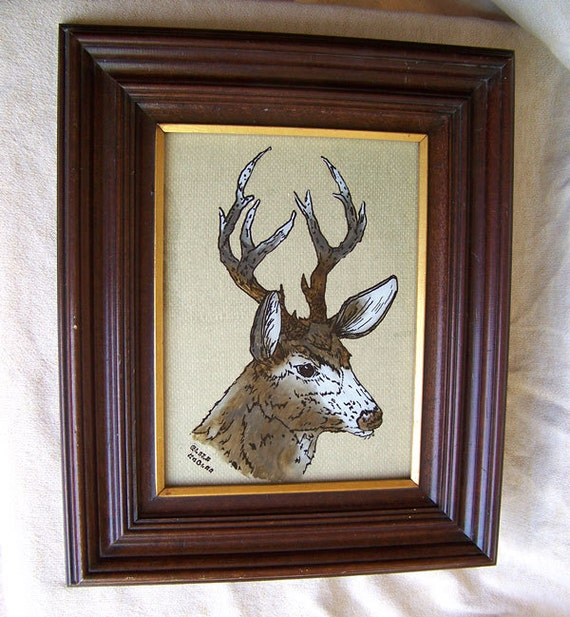 Reverse glass painting stag deer buck large 15 x 18 picture frame gilded signed